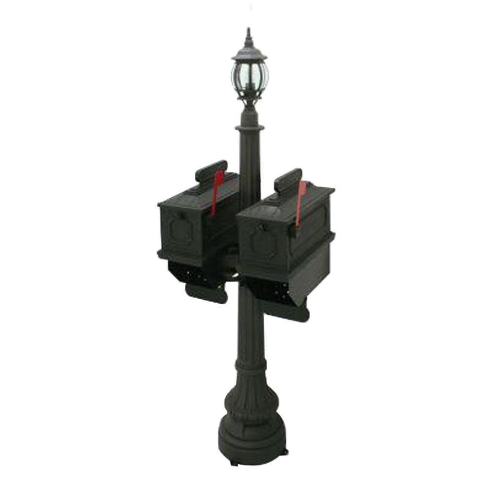 1812 Port Angeles 2-Compartment Plastic Black Mailbox with Lantern