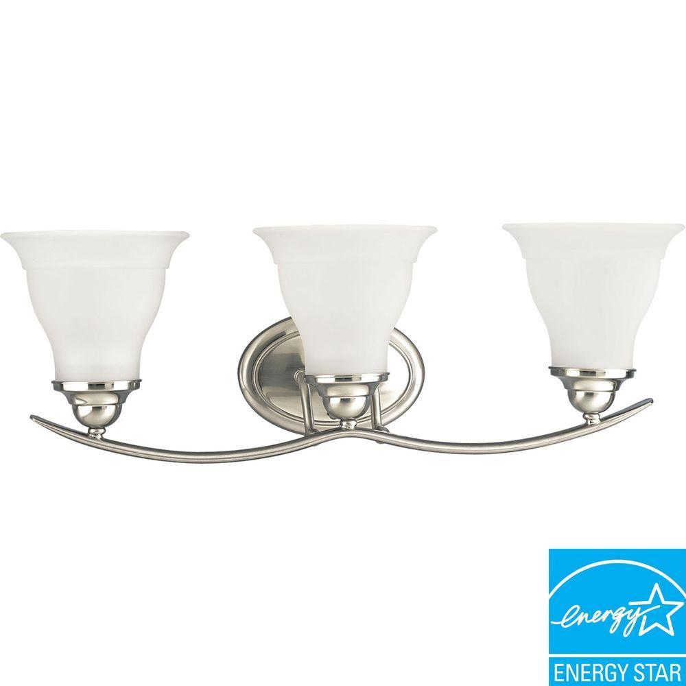Trinity 3-Light Brushed Nickel Fluorescent Bathroom Vanity Light with Glass Shades