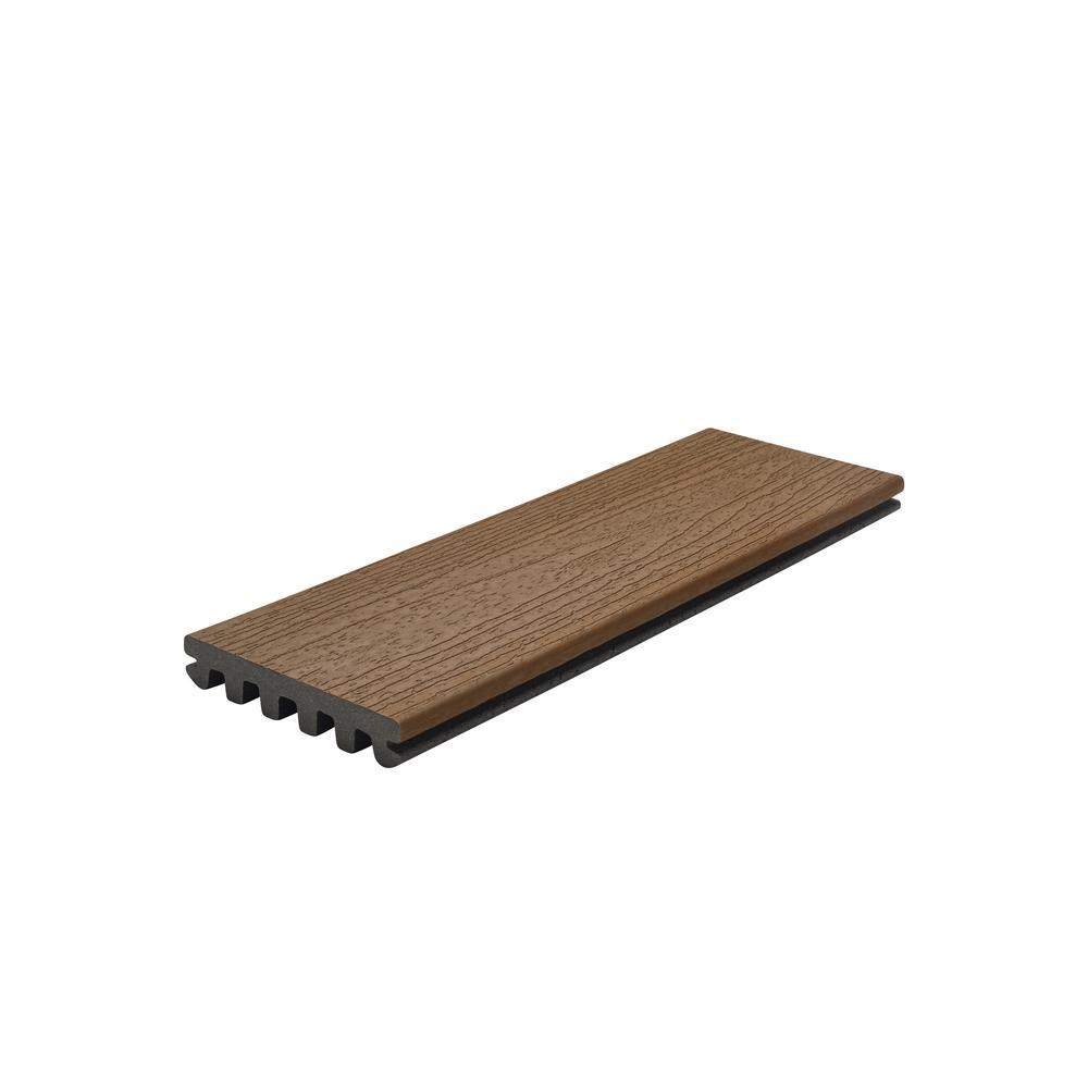Enhance 1 in. x 5.5 in. x 1 ft. Saddle Composite Decking Board Sample (Model # SDE92000 )