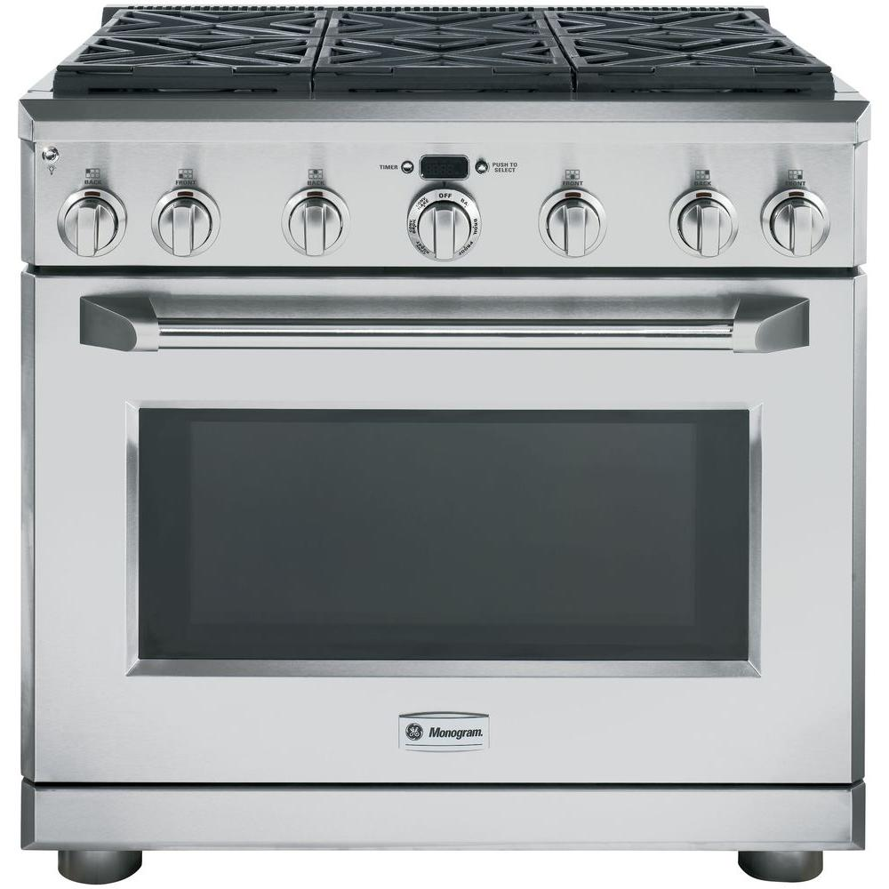 Monogram 36 in. All Gas Professional Range with 6 Burners (Natural