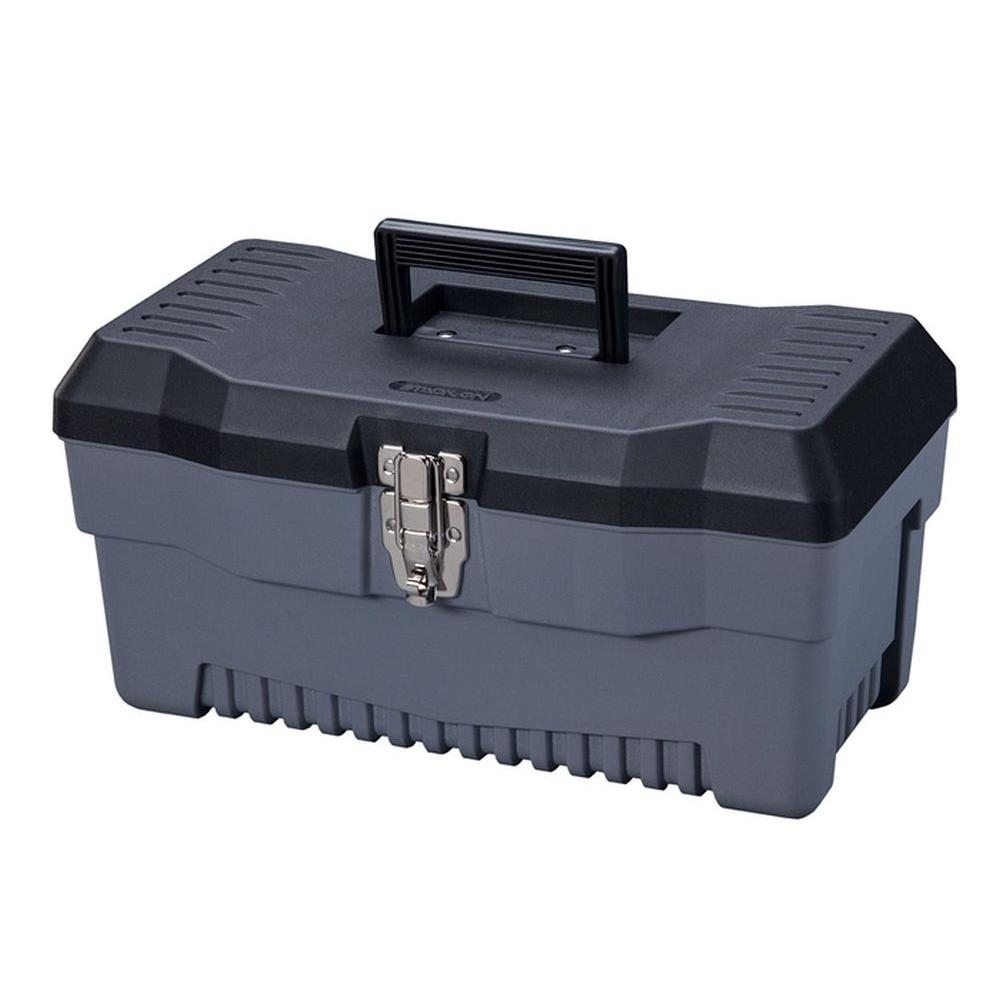 Stack-On 16 in. Professional Plastic Tool Box with Lift Out Tote Tray
