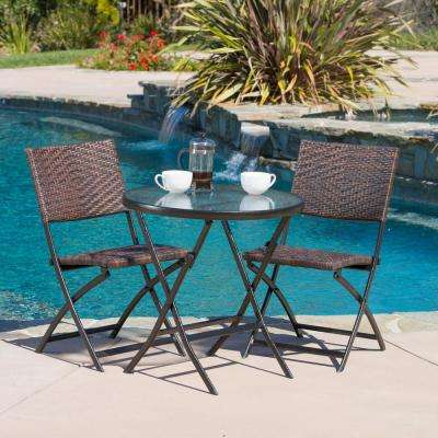 El Paso Multi-Brown 3-Piece Wicker Outdoor Dining Set