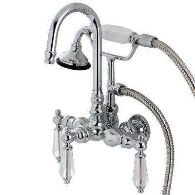Crystal 3-Handle Claw Foot Tub Faucet with Handshower in Polished Chrome
