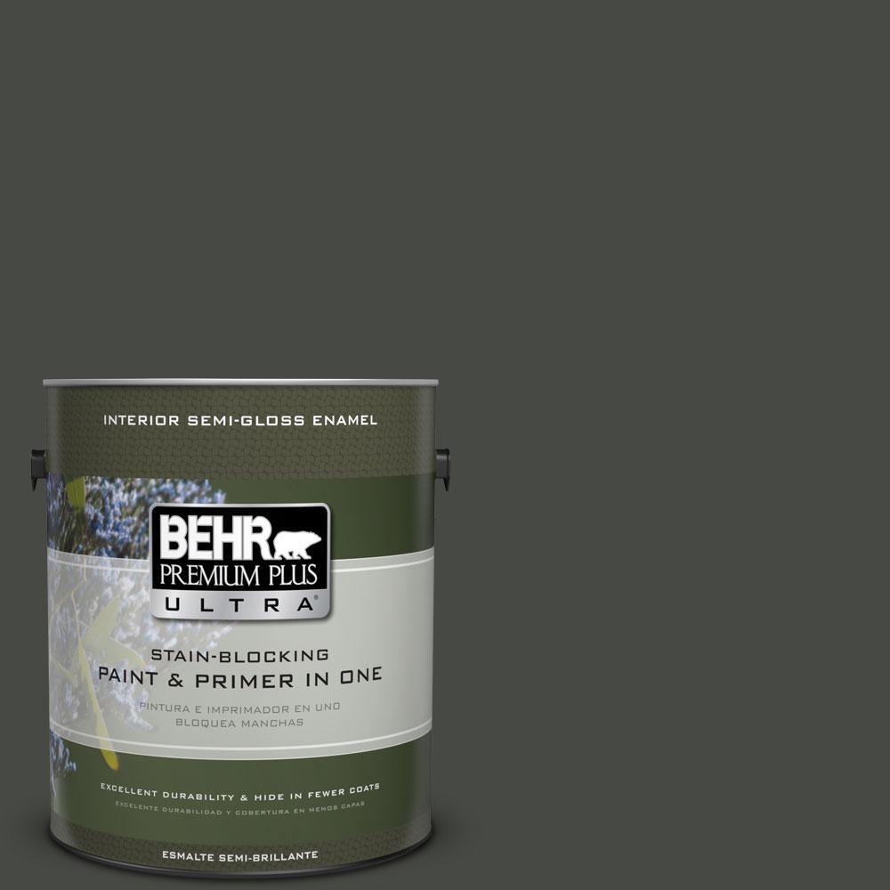 1-gal. #710F-7 Black Swan Semi-Gloss Enamel Interior Paint