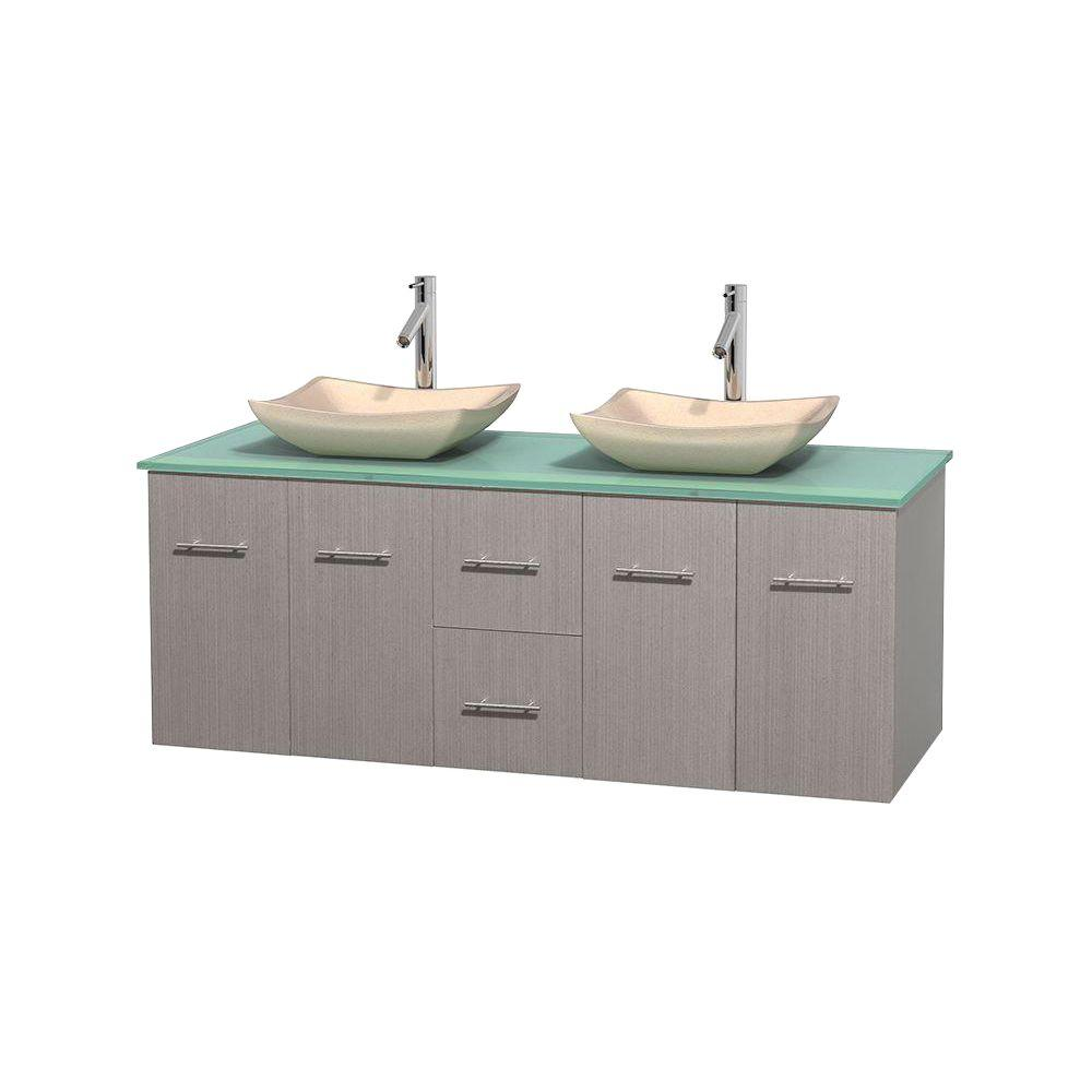 Wyndham Collection Centra 60 in. Double Vanity in Gray Oak with Glass Vanity Top in Green and Sinks
