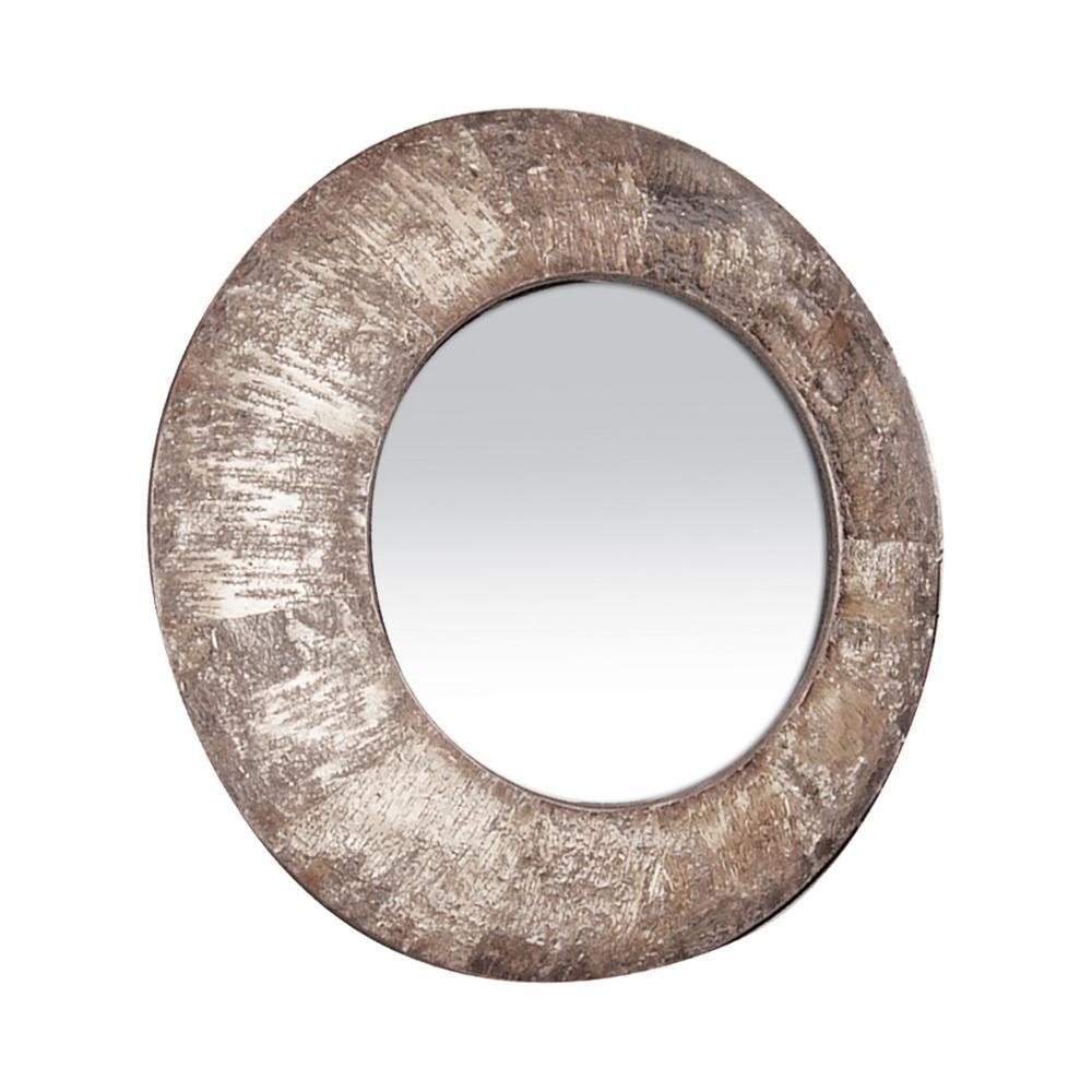 31 in. Round Natural Birch Bark Framed Mirror