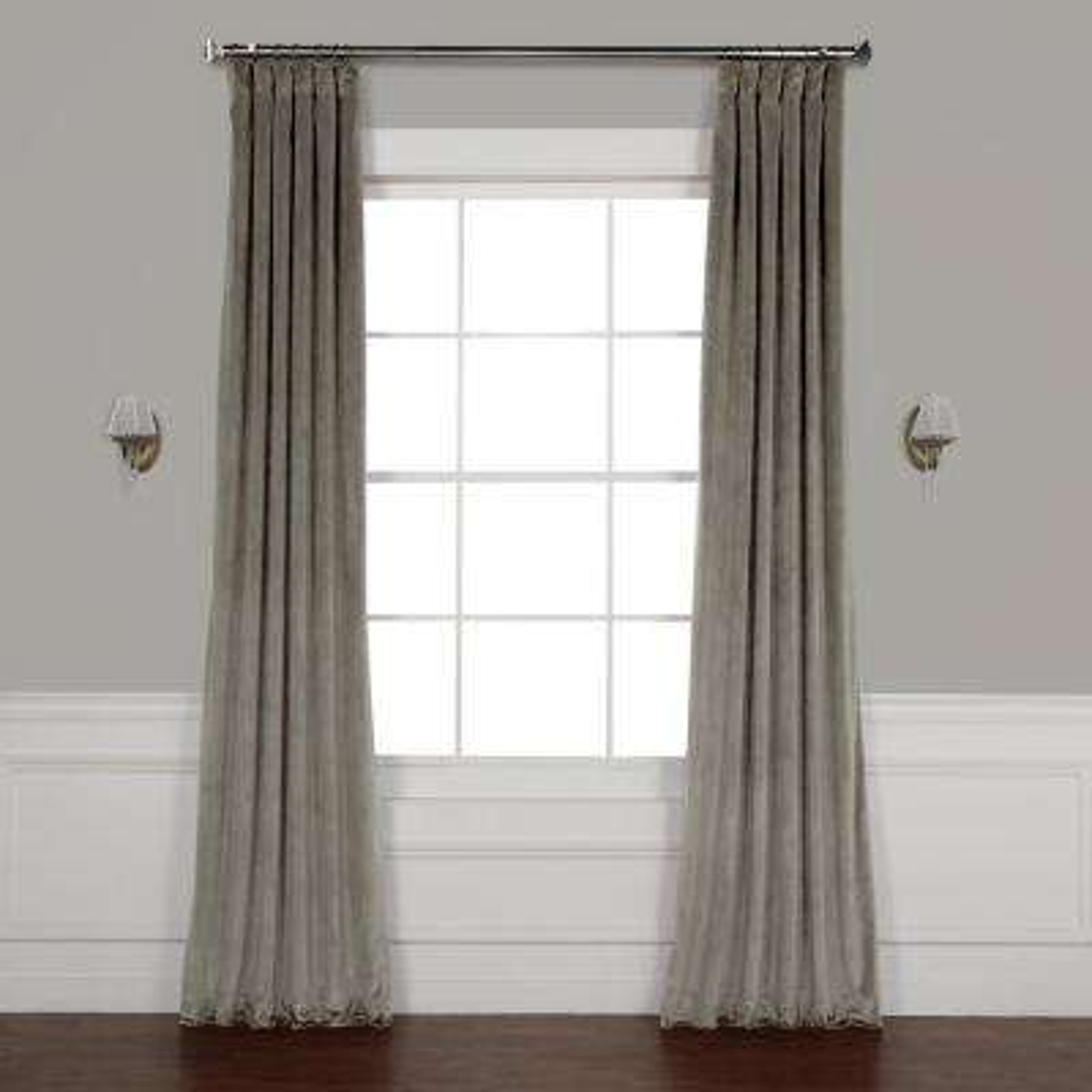 Destiny Grey Plush Velvet Curtain - 50 in. W x 96 in. L