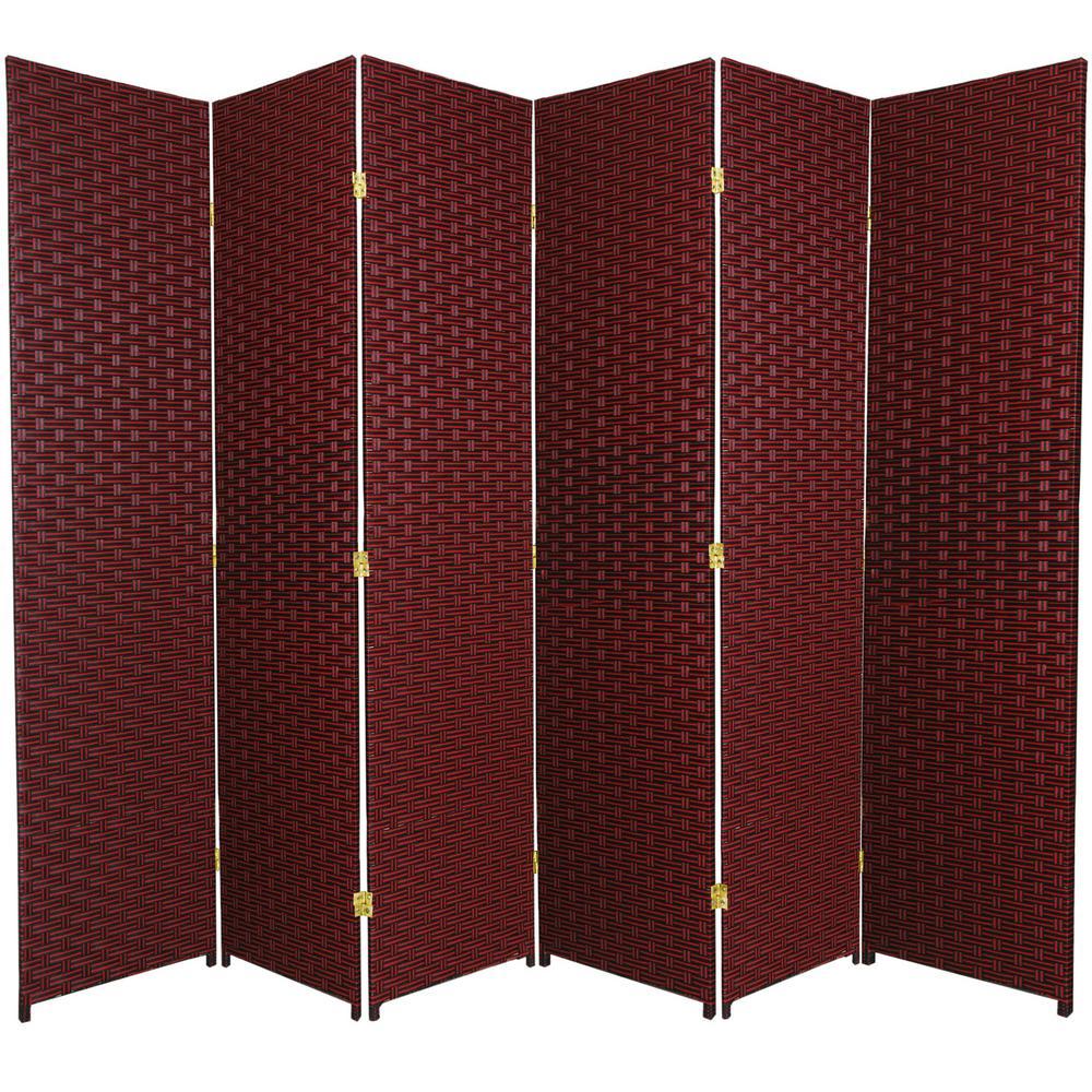 6 ft. Red-Black 6-Panel Room Divider