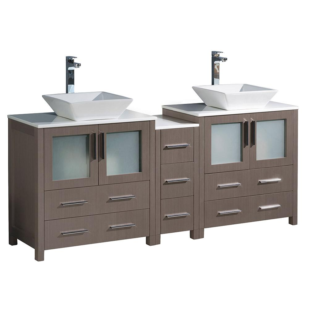 Fresca Torino 72 In Double Vanity In Gray Oak With Glass Stone