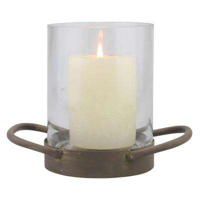 6.5 in. Brown Glass Hurricane Candle Holder