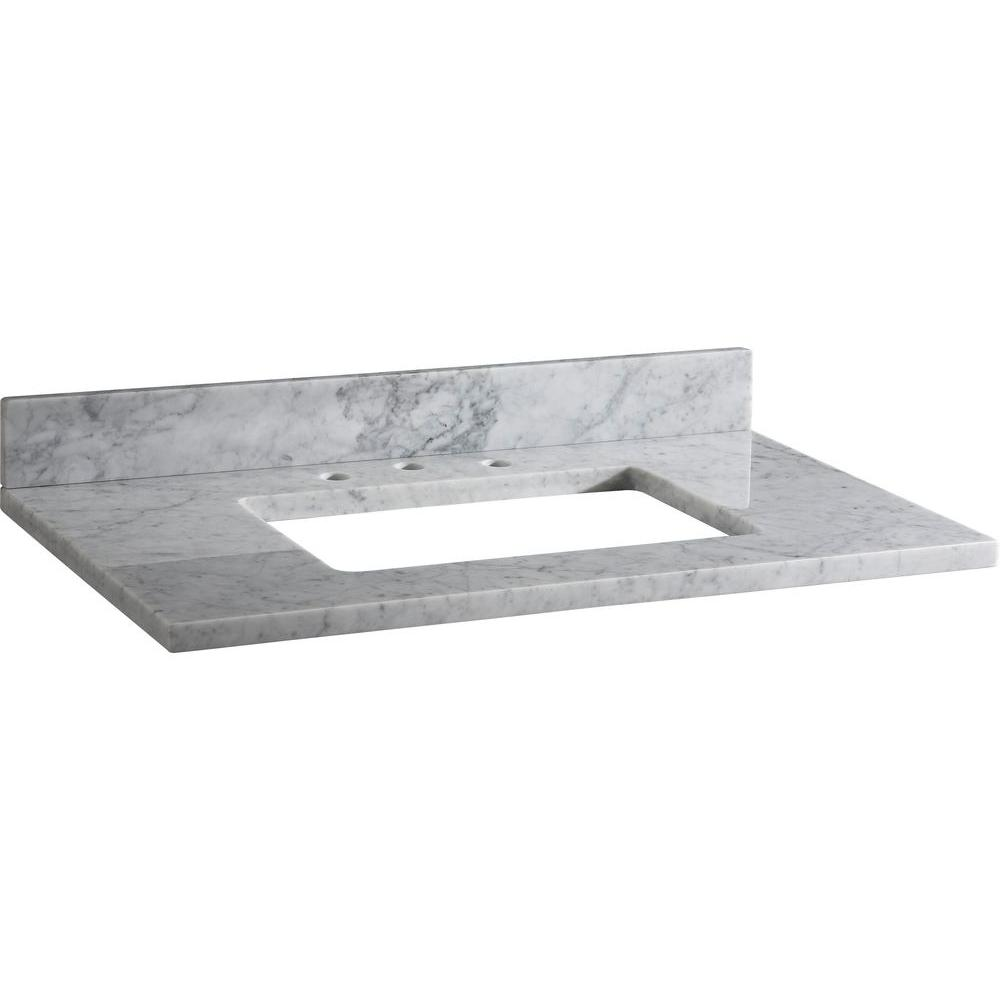Ryvyr 37 In Marble Vanity Top In Carrara White Without Basin