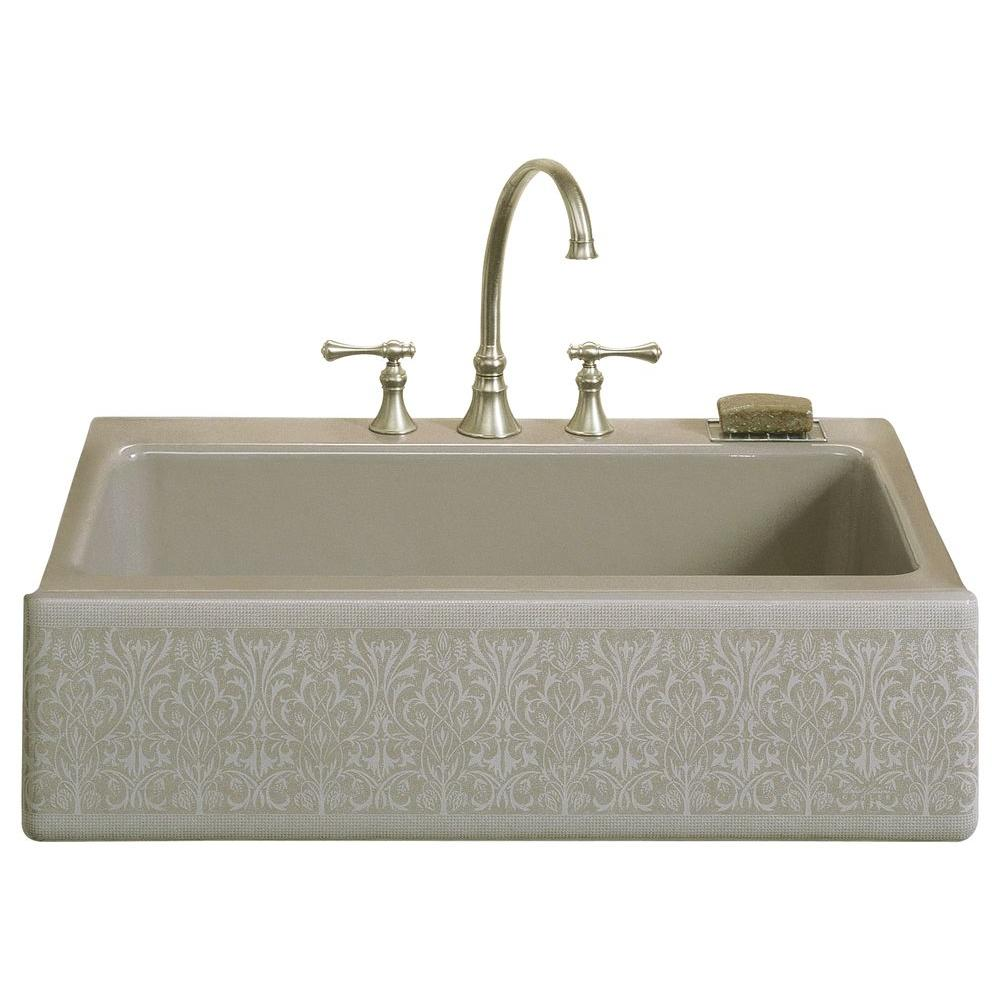 Kohler Dickinson Undermount Cast Iron 33 In 4 Hole Single Bowl Kitchen Sink In Cashmere K 14579
