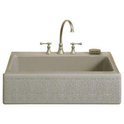 Dickinson Undermount Cast-Iron 33 in. 4-Hole Single Bowl Kitchen Sink in Cashmere