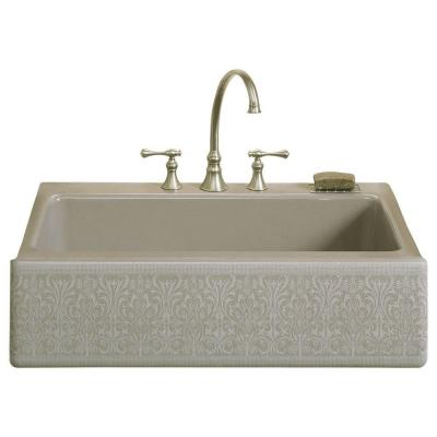 Dickinson Farmhouse Apron-Front Cast-Iron 33 in. 4-Hole Single Basin Kitchen Sink in Cashmere