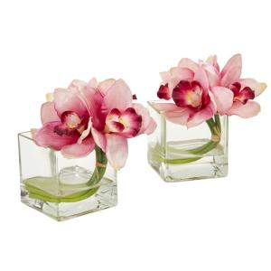 Indoor Cymbidium Orchid Artificial Arrangement in Glass Vase (Set of 2)