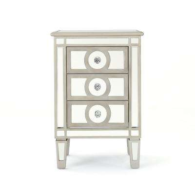 Maeve 3-Drawer Mirrored Cabinet with Silver Faux Wood Frame