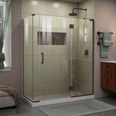 Unidoor-X 58 in. W x 34-3/8 in. D x 72 in. H Frameless Hinged Shower Enclosure in Oil Rubbed Bronze