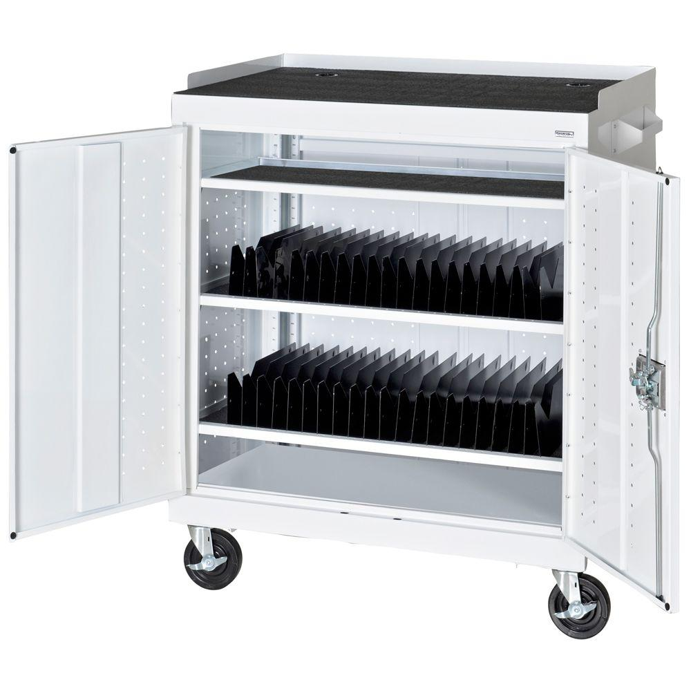 Sandusky 36 in. L x 24 in. D x 43 in. H Mobile Tablet Storage Cart with Sync and Charging Hubs