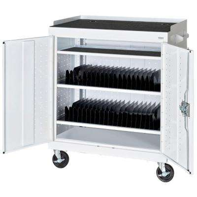 36 in. L x 24 in. D x 43 in. H Mobile Tablet Storage Cart with Sync and Charging Hubs