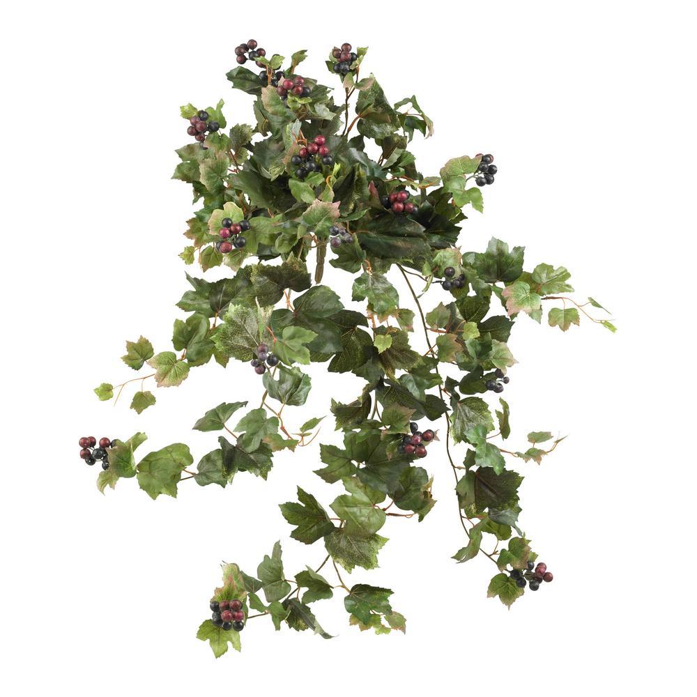 Indoor 24 ft. Grape Leaf Hanging Artificial Plant (2-Set)