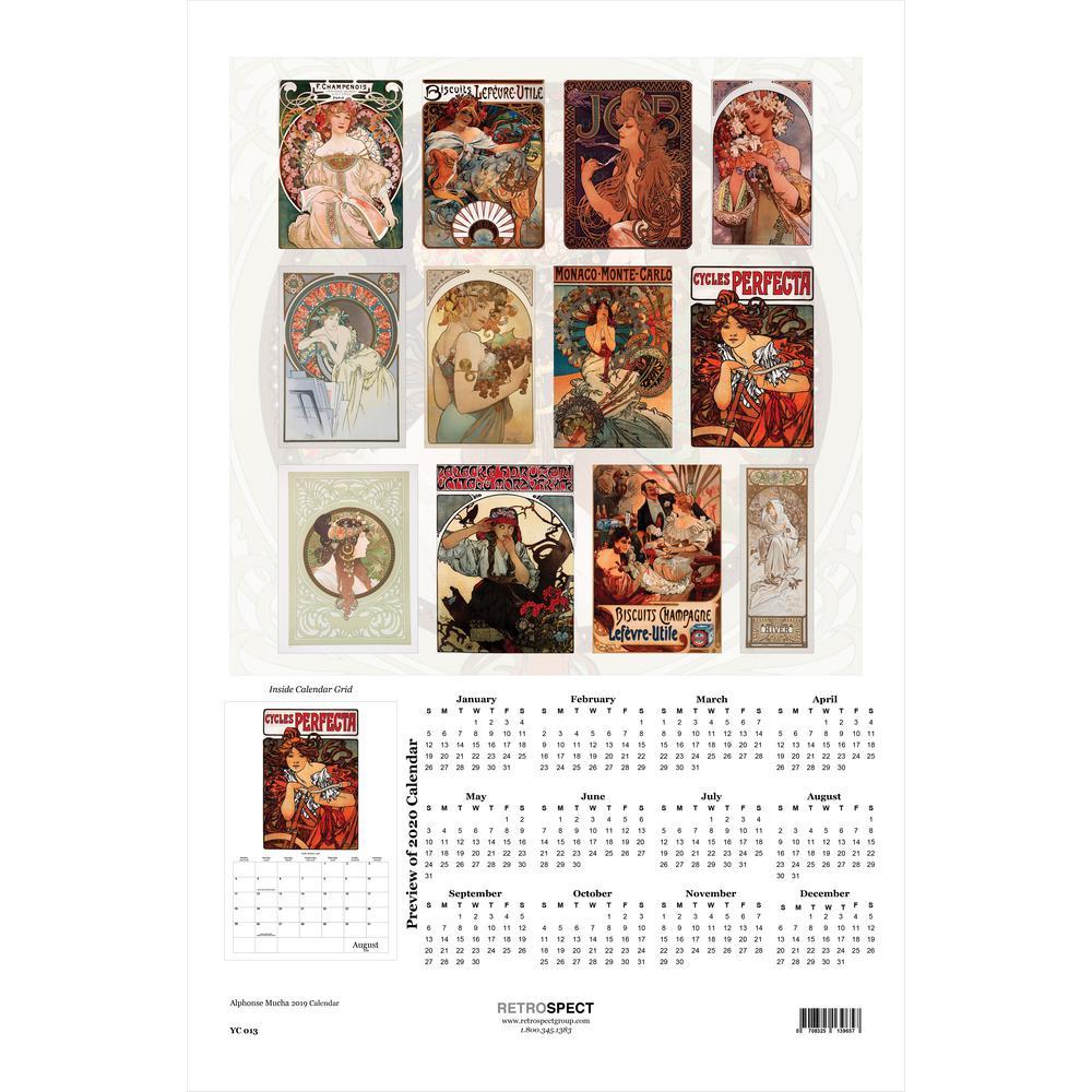 19 in. H x 12.5 in. W Alphonse Mucha - 2019 Calendar
