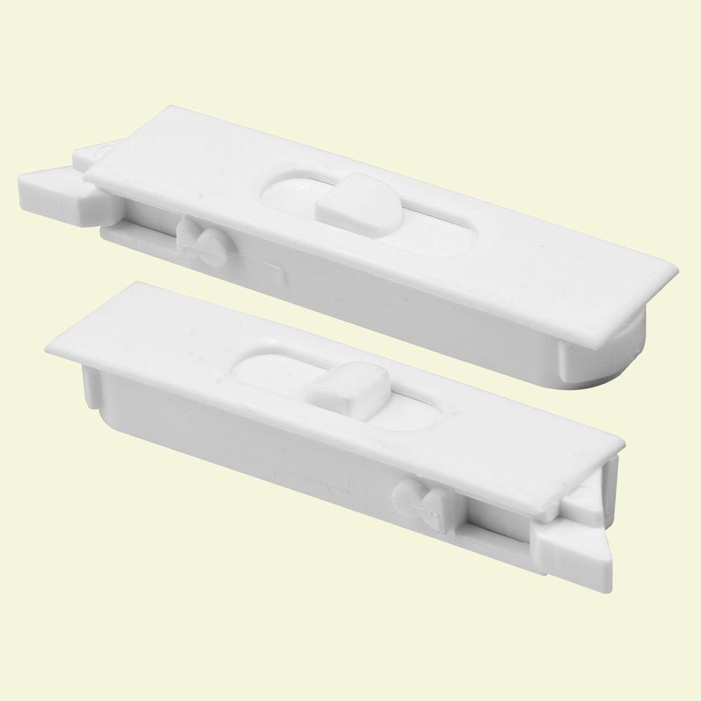 Prime-Line Tilt Latch Pair, White Plastic Construction, spring-loaded, Snap-In