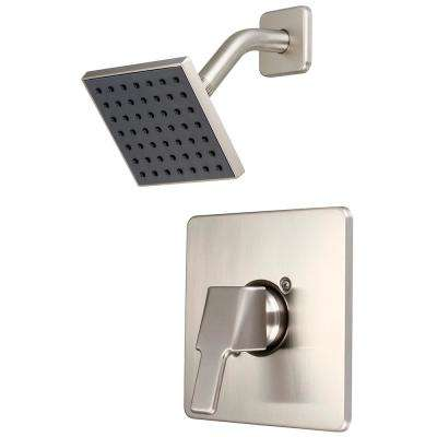 i3 1-Handle Wall Mount Shower Trim Kit in Brushed Nickel with 4 in. Square Showerhead (Valve Not Included)