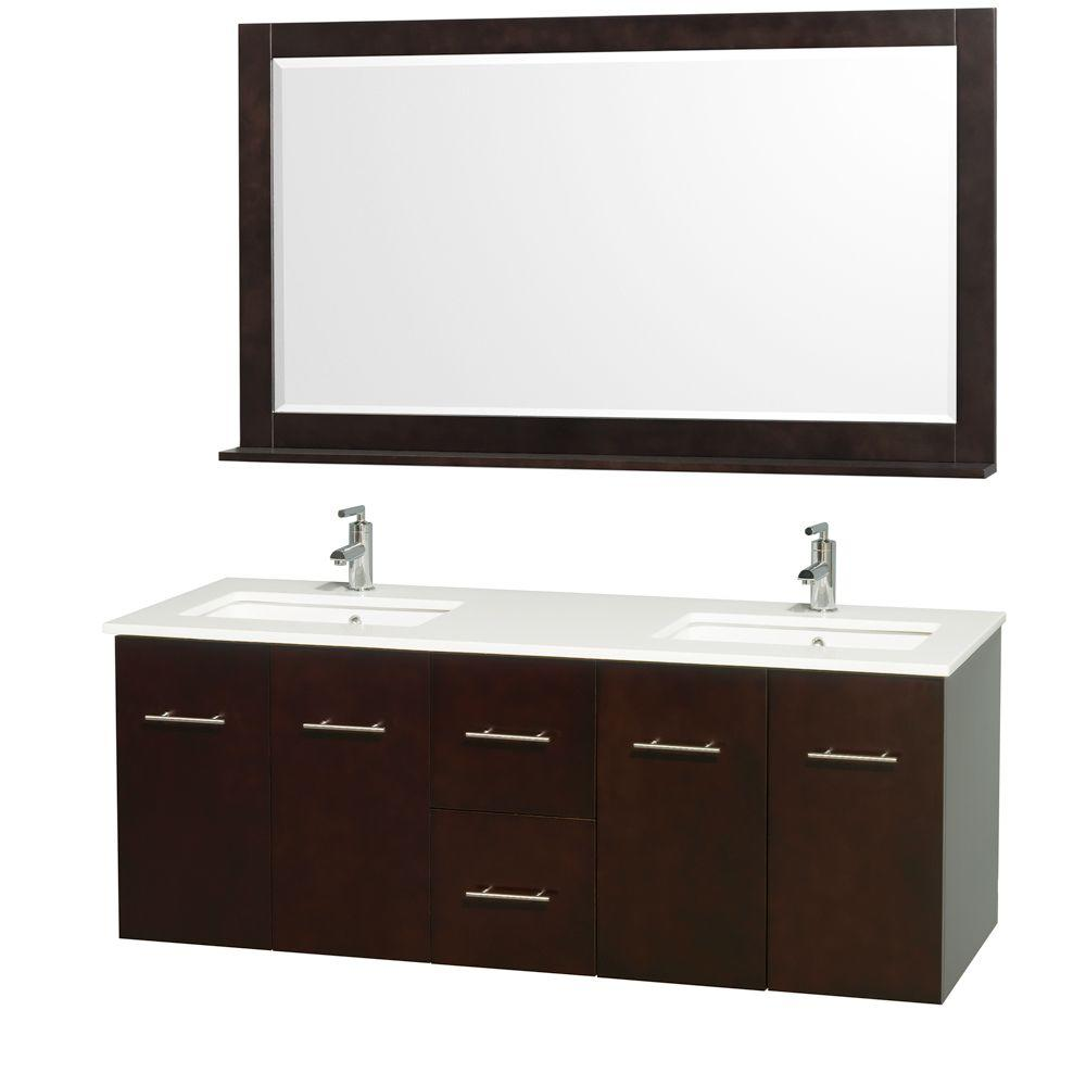 Wyndham Collection Centra 60 in. Double Vanity in Espresso with Man-Made Stone Vanity Top in White and Square Porcelain Undermounted Sinks