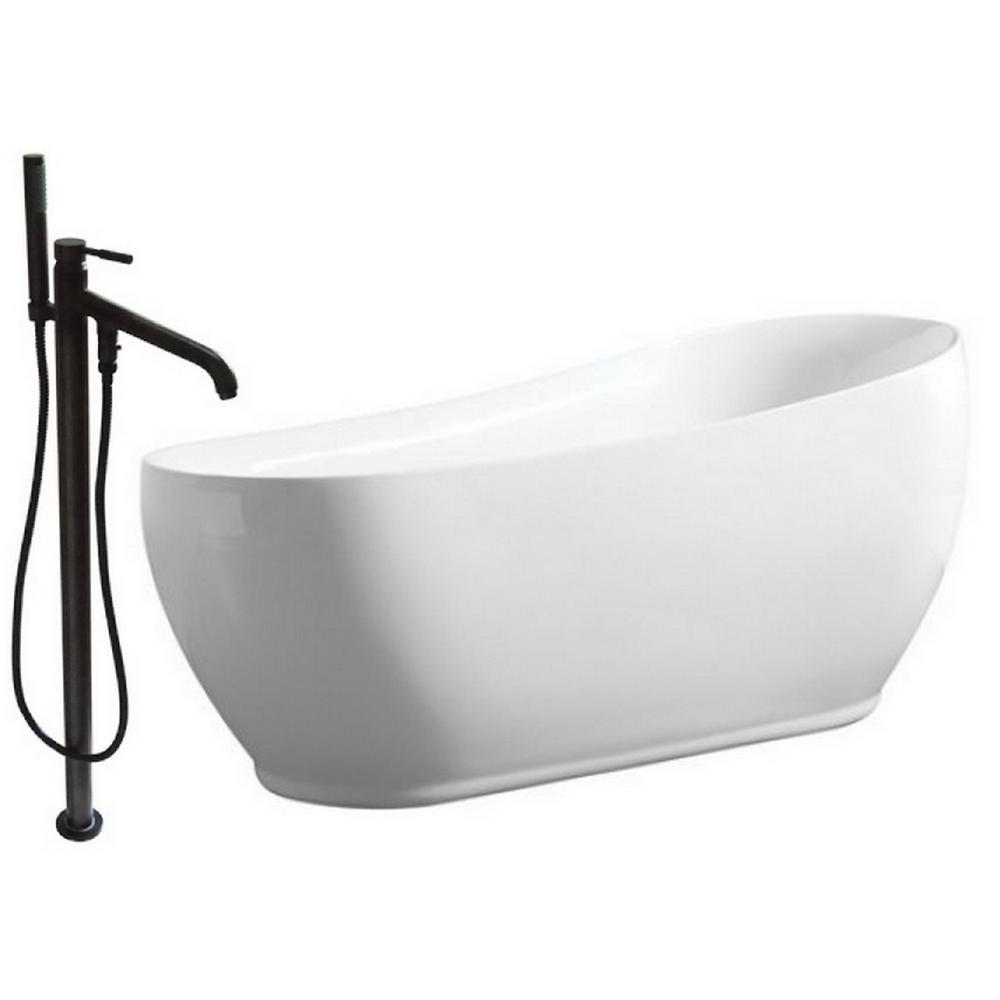 Modern 5.9 ft. Acrylic Flatbottom Bathtub in White and Freestanding Faucet