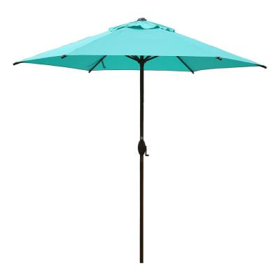 9 ft. Market Outdoor Patio Umbrella with Push Button Tilt and Crank in Turquoise