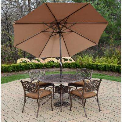 7-Piece Aluminum Outdoor Dining Set with Sunbrella Brown Cushions and Champagne Brown Umbrella