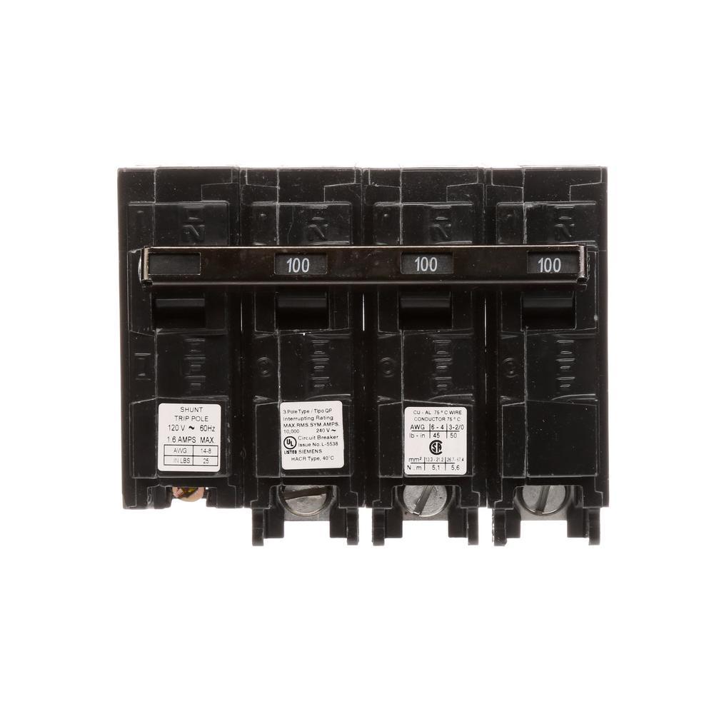 siemens 100 amp 3pole 10 ka type qp with shunt trip circuit