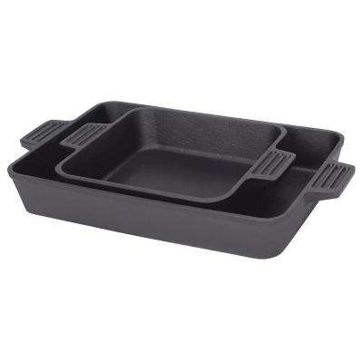 8 in. x 8 in. and 9 in. x 13 in. 2-Piece Cast-Iron Baking Pan Set