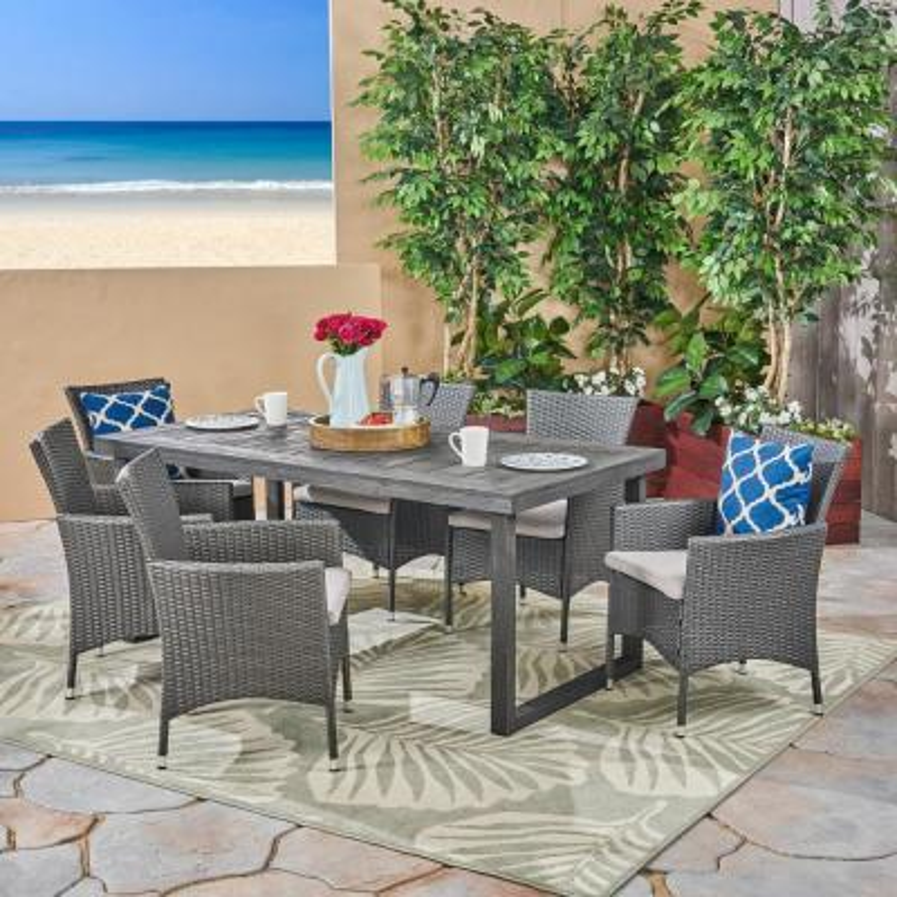Stamford Sandblast Dark Grey 6-Piece Wood and Grey Wicker Outdoor Dining Set with Silver Cushions