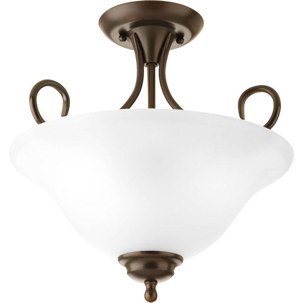2-Light Antique Bronze Semi-Flush Mount