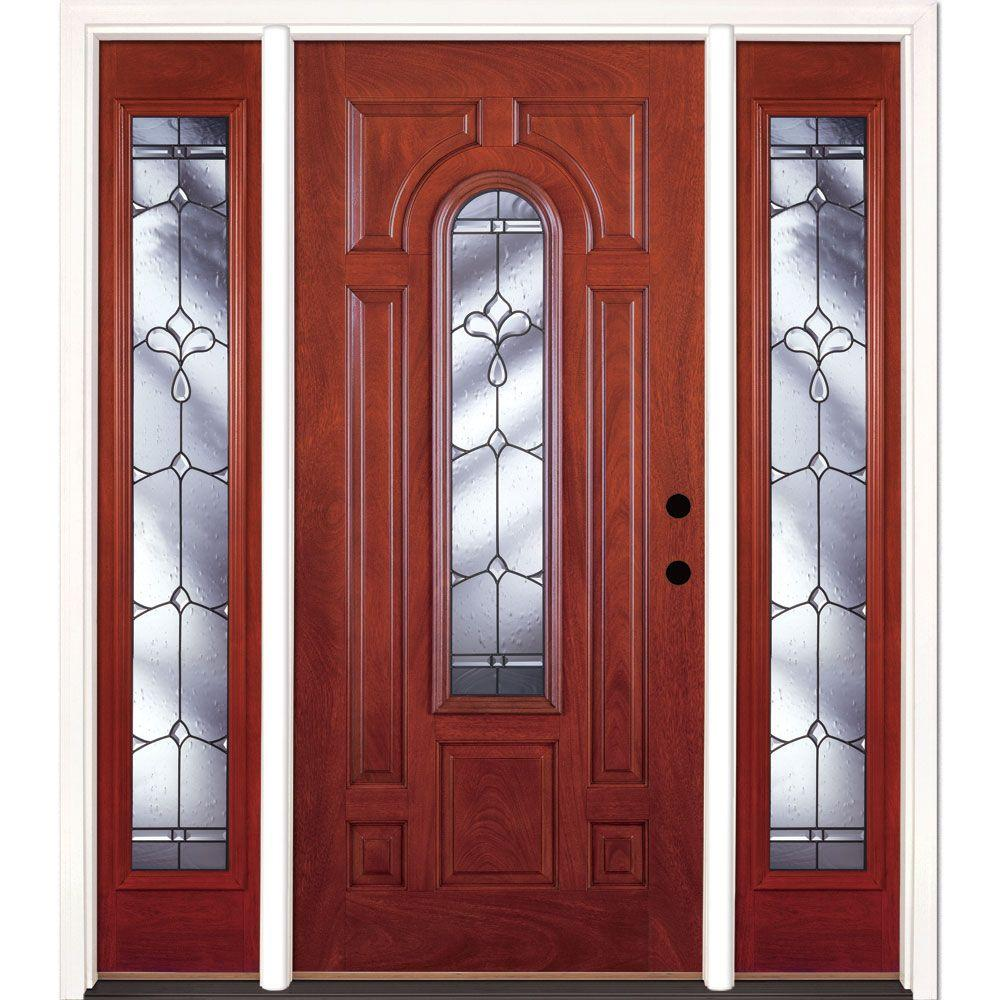 63.5 in.x81.625in.Carmel Patina Center Arch Lt Stained Cherry Mahogany Lt-Hd