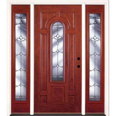 63.5 in.x81.625in.Carmel Patina Center Arch Lt Stained Cherry Mahogany Lt-Hd Fiberglass Prehung Front Door w/ Sidelites