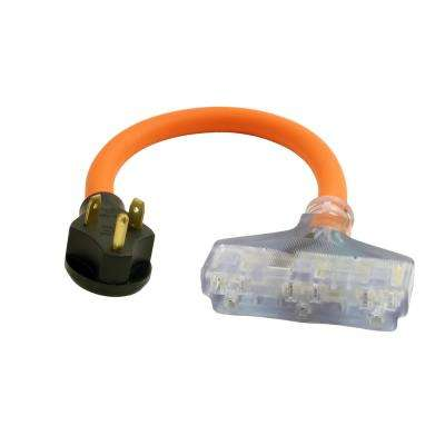 1.5 ft. 10/3 STW 30 Amp TT-30P RV/ Travel Trailer Plug to Lighted Tri-Outlets Household Sockets