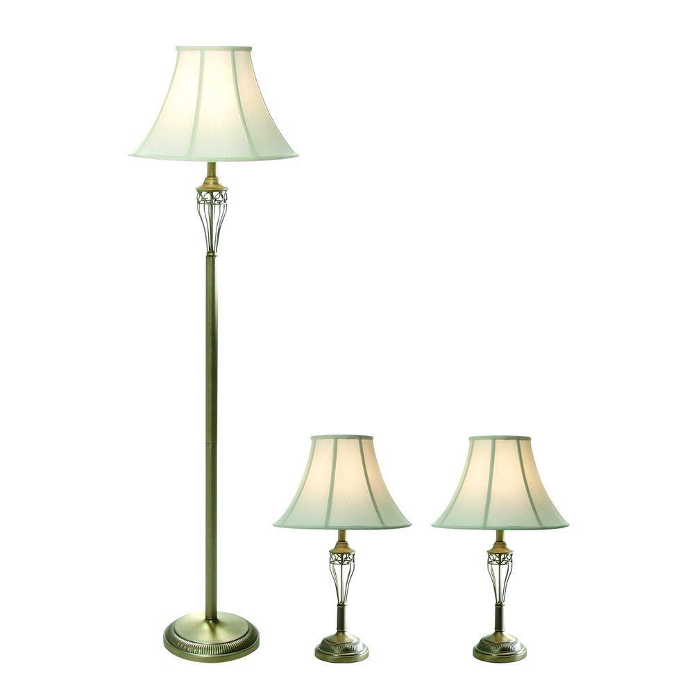 16 in. 3-Piece Antique Brass Lamp Set