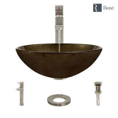 Glass Vessel Sink in Regal Bronze and Earth Tones with R9-7003 Faucet and Pop-Up Drain in Brushed Nickel