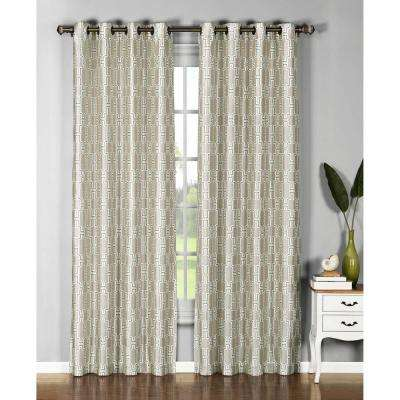 Semi-Opaque Wesley 54 in. W x 96 in. L Faux Silk Grommet Extra Wide Curtain Panel in Beige/Chocolate