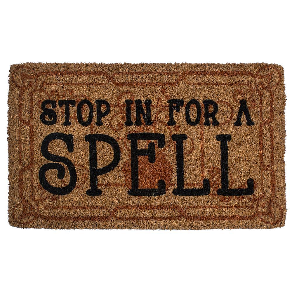 Stop in for a Spell 18 in. x 30 in. Hand Woven Coconut Fiber Door Mat