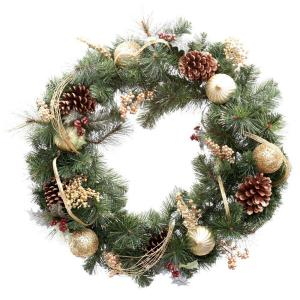 30 in. Unlit Golden Holiday Artificial Wreath