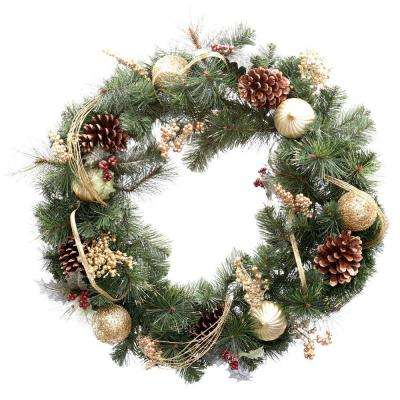 unlit golden holiday artificial wreath - How To Decorate Artificial Christmas Wreath