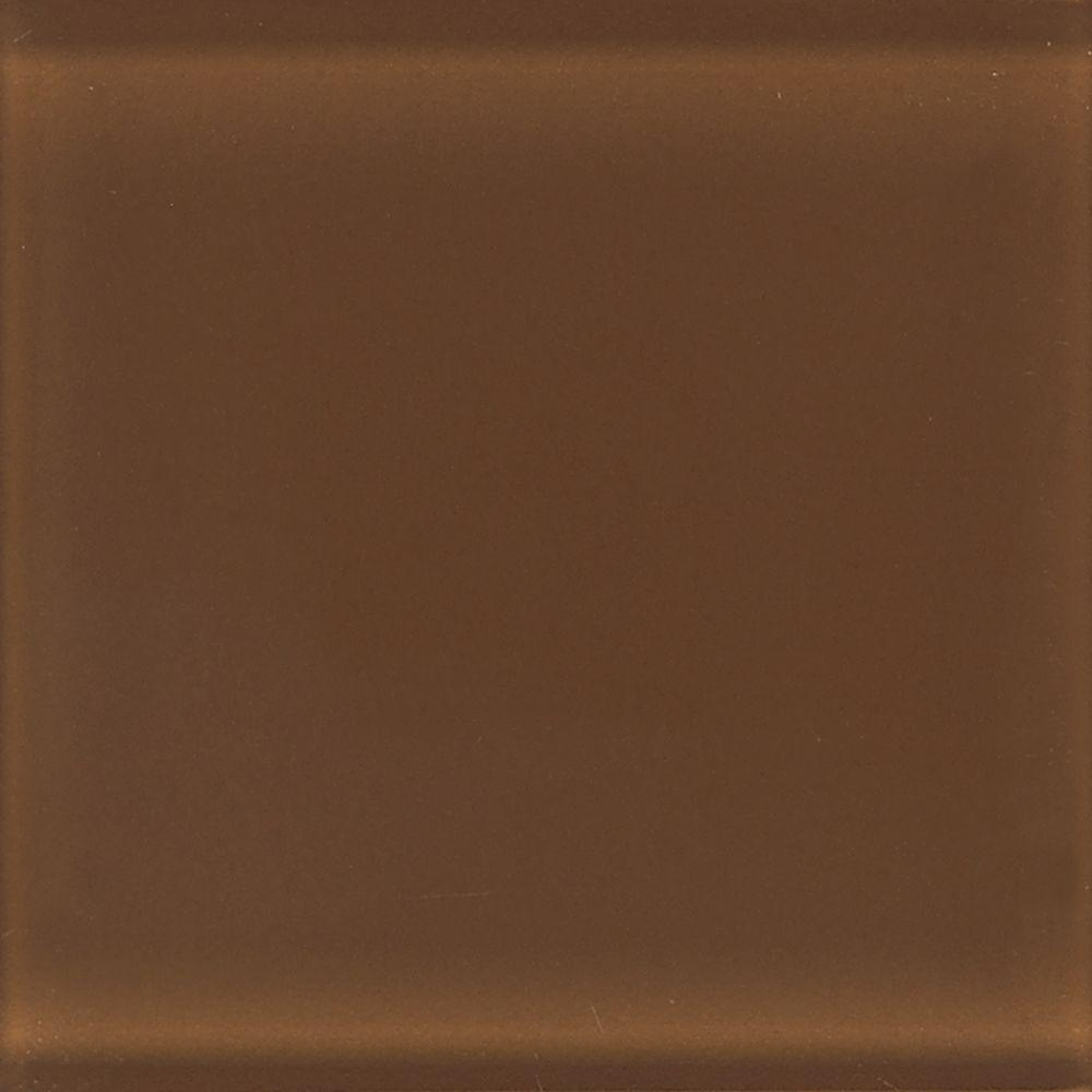 Daltile Glass Reflections 4-1/4 in. x 4-1/4 in. Caramel Sundae Glass Wall Tile (4 sq. ft. / case)-DISCONTINUED