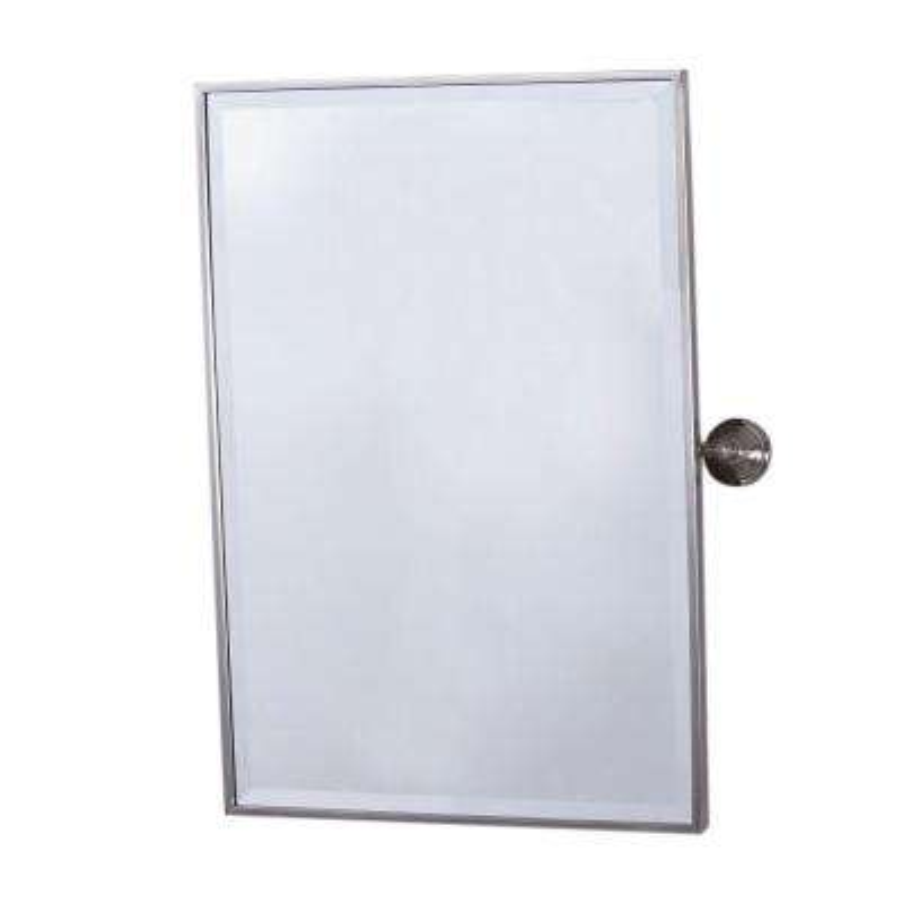 Cornelius 19 in. x 28 in. Pivoting Single Framed Beveled Wall Mirror in Brush Nickel