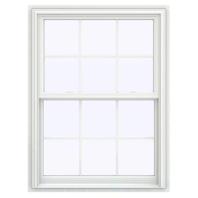 35.5 in. x 47.5 in. V-2500 Series White Vinyl Double Hung Window with Colonial Grids/Grilles