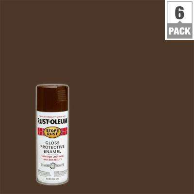 12 oz. Protective Enamel Gloss Leather Brown Spray Paint (6-Pack)