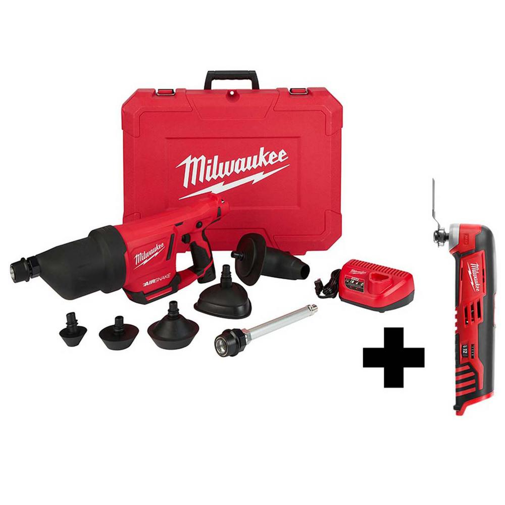 Milwaukee M12 12-Volt Lithium-Ion Cordless Drain Cleaning Airsnake Air Gun Kit with Free M12 Multi-Tool was $487.0 now $314.1 (36.0% off)