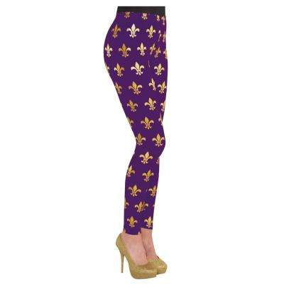 Purple and Gold Polyester, Spandex Fleur de Lis Mardi Gras Adult Tights